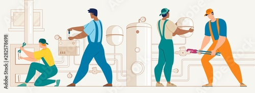 Workers Installing House Heating System Vector