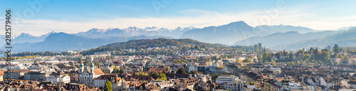 Fototapeta Aerial view of Luzern city center with beatiful swiss alps in the background, to