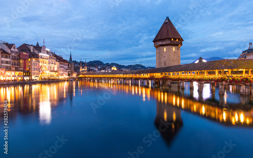 Old wooden architecture called Chapel Bridge in Luzern or Lucerne, Switzerland d Wallpaper Mural