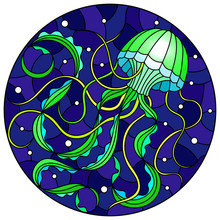 Illustration In Stained Glass Style With Abstract Green  Jellyfish Against A Dark Blue Sea And Bubbles, Round Image
