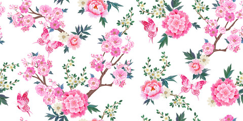 Panel Szklany Peonie Spring seamless pattern with blooming sakura, pink peonies plum branches and flying butterflies in Chinese style