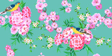 Spring Seamless Pattern With Blooming Sakura, Pink Peonies Plum Branches And Small Birds In Chinese Style