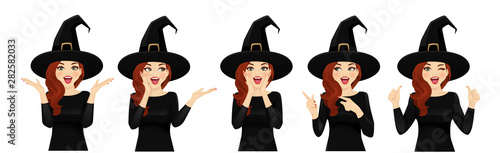 Obraz na płótnie Surprised halloween woman in witch costume vector illustration