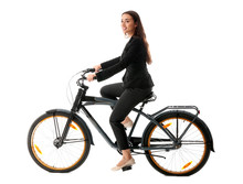 Young Businesswoman Riding Bic...