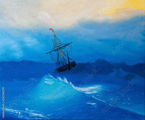 In de dag Schip Oil painting on canvas , sailboat against a background of sea sunset