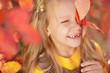Leinwandbild Motiv Fashionable girl child in the fall.