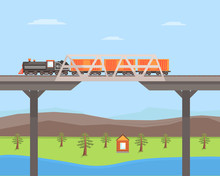 Freight Train Moving On The Bridge, Rail Transportation On Summer Mountain Landscape Vector Illustration