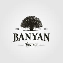 Vintage Retro Banyan Tree Logo Vector Icon Illustration