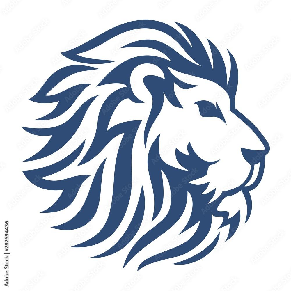 Fototapeta Head Lion Blue Vector