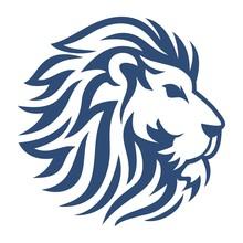 Head Lion Blue Vector