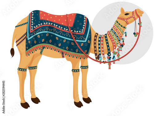Foto Decorative camel character on white background.