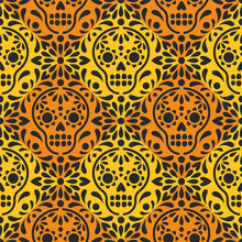 Dia De Los Muertos. Vector Seamless Purple Pattern With Mexican Sugar Skulls And Flowers. Paper Cutting Imitation.