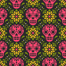 Dia De Los Muertos. Vector Seamless Pattern With Mexican Sugar Skulls And Flowers. Isolated On Black Background