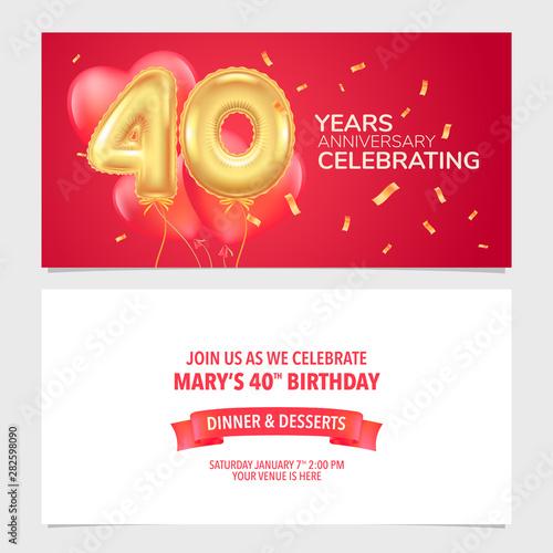 Fototapeta 40 Years Anniversary Invitation Vector Illustration Design Template Card