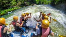 Adventure Team Doing Rafting On The Cold Waters Of The Nestos River In Paranesti.