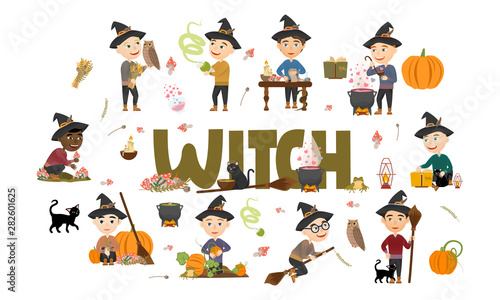 Photo Stands Owls cartoon Cute witch boy set. Wizards in black hats and warm sweaters gather mushrooms and herbs, brew potions, fly on a broomstick and make magic. Vector illustration