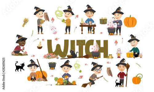 Photo  Cute witch boy set