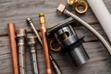 Fototapeta Kawa jest smaczna - Home improvement background with plumbing tools and equipment