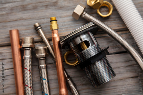 Recess Fitting India Home improvement background with plumbing tools and equipment