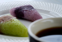 Roasted Pandan Leaf Sticky Rice With Taro Flavour, Roasted Sticky Rice With Sweet Purple Potato Flavour On White Dish Served With Black Coffee And Space For Write Wording, Special Recipe For Value Add