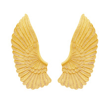 Gold Angel Wing Isolated On Wh...