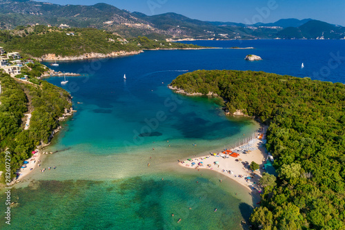 Aerial drone bird's eye view of Bella Vraka Beach with turquoise sea in complex islands in Sivota area, Ionian sea, Epirus, Greece