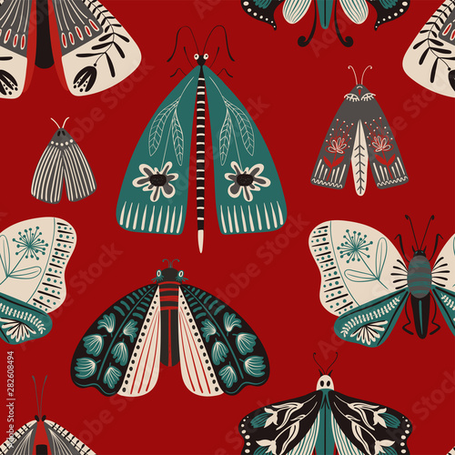 Folk Art Seamless Pattern With Moths. Wallpaper Mural