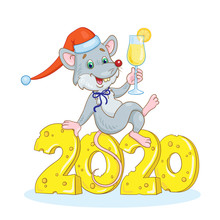 Funny Gray Rat - Symbol Of The New Year Sitting With A Glass Of Champagne In His Hands On The Number 2020, Carved From Cheese. In A Cartoon Style. Isolated On White Background. Vector Illustration.