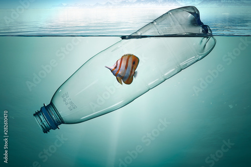 Plastic bottle with fish, pollution that floats in the ocean Canvas Print