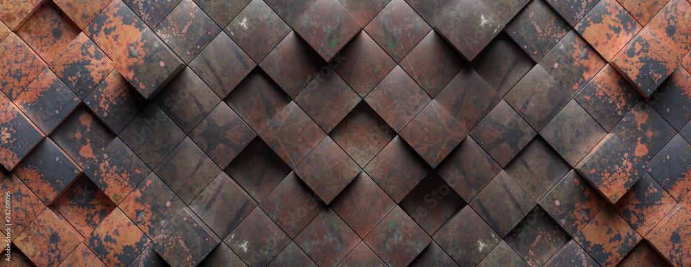 Fototapeta Industrial metal rusty background texture, Cube shape elements pattern. 3d illustration