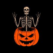 SKELETON WITH ROCK SIGNS IN THE PUMPKIN COLOR BLACK BACKGROUND