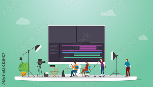movie or video production concept with team video editor with some tools to edit Wallpaper Mural