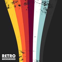 Retro Grunge Design Background With Colorful Vintage Stripes