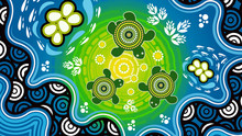 Aboriginal Dot Art Vector Painting With Turtle.