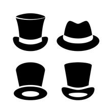 Gentleman Top Hat Vector Icon Set