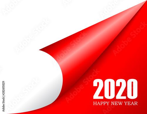 Curled paper corner 2020 new year Tapéta, Fotótapéta