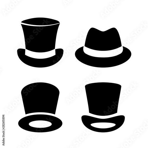 Cuadros en Lienzo  Gentleman top hat vector icon set