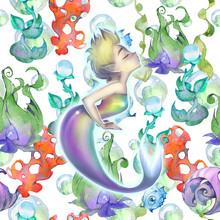 Fantasy Hand Drawn Illustration Of A Cute And Beautiful Cartoon Mermaid