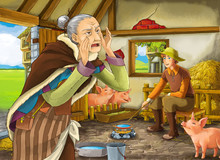 Cartoon Scene With Old Woman Witch Or Sorceress And Farmer Rancher In The Barn Pigsty Illustration For Children