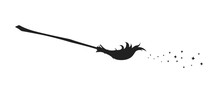 Black Silhouette Of Witch Broom. Halloween Party. Isolated Image Of Sorceress Accessory. Wizard Besom