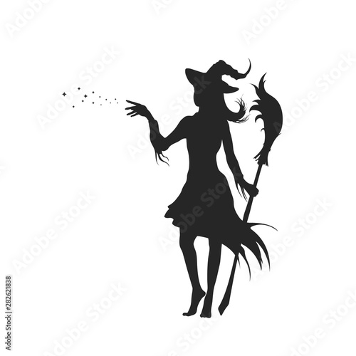 Canvas Print Black silhouette of witch with hat