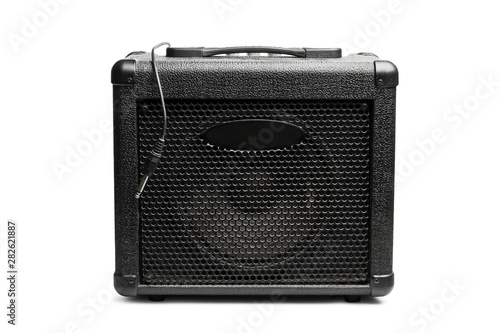 Amplificador negro sobre fondo blanco aislado vista de frente Canvas Print