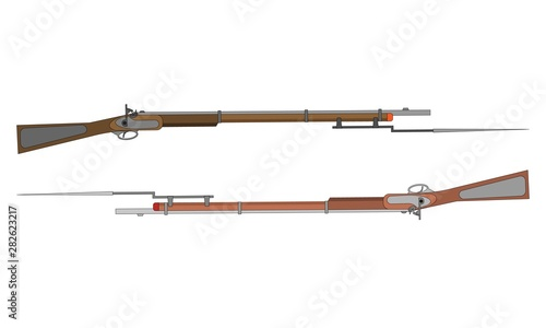 Two gun rifles with bayonets Poster Mural XXL