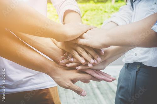 Obraz na plátně  Team teamwork business join hand together concept