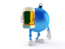 Christmas Ornament Character Holding Beer Glass