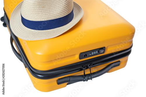 yellow suitcase with a combination lock with numbers 666 on it Wallpaper Mural