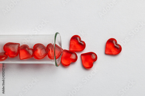 Hearts and test tube Wallpaper Mural