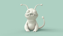 3d Digital Illustration Of Cute Little Cartoon Monster. Concept Art Character Of Smiling Frog Mutant. Monochrome White-green Rendering Of A Stylized Alien Character. Wallpaper Funny Monster With Tail.