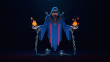 3d Digital Illustration Of A Necromancer Sharpened In Shackles Floating In The Air On A Dark Background. Magician Causes The Magic Of Fire. Wallpaper Undead In A Hooded Mantle. Game Monster Character