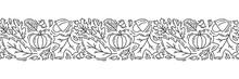 Seamless Pattern Ornament Monoline With Acorns, Pumpkin And Autumn Oak Leaves In Black. Perfect For Wallpaper, Gift Paper Fill, Web Page Background, Autumn Greeting Card, Pillow